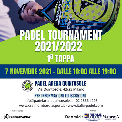 ARENA QUINTOSOLE Padel Tournament 2021/2022: 1ª Tappa